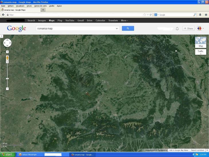 Exploatarea existenta de suprafata la Rosia Montana, vedere din satelit